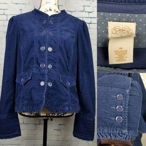 Anthropologie Cidra Blue Corduroy Blazer Size 14